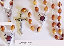 Rosary with Holy Earth in Centerpiece