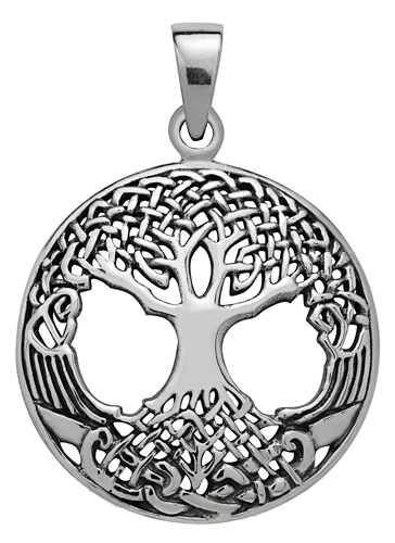Silver Druid's Tree of Life Pendant for Strength