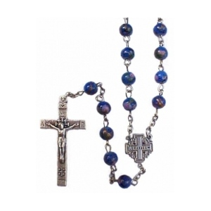 Azure Blue Rosary with Jerusalem Cross
