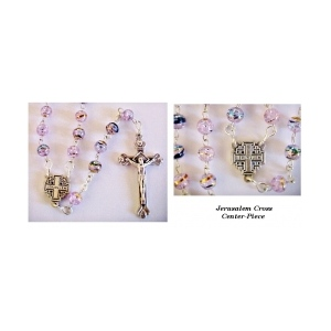 Champagne Pink Rosary with Jerusalem Cross