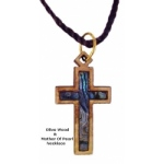 Olivewood & Mother of Pearl Necklaces - Latin Cross