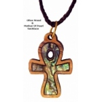 Olive Wood & Mother of Pearl Necklaces - Key of Life Cross