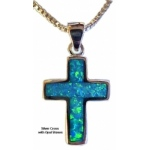Silver Cross Necklace with Opal Stones