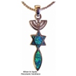 Menorah, Star & Fish Silver & Opals Necklace