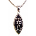 Menorah, Star and Fish, Silver & Onyx Necklace