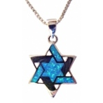 Large Silver Star of David with Opals