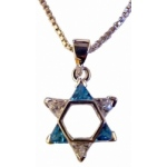 Star of David with Blue Topaz & Cubic Zircons Necklace