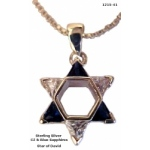 Star of David with Sapphire & Cubic Zircons Necklace